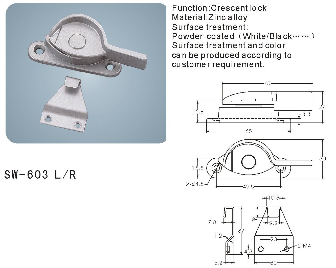 Crescent Lock for Window and Door (SW-603 L/R)