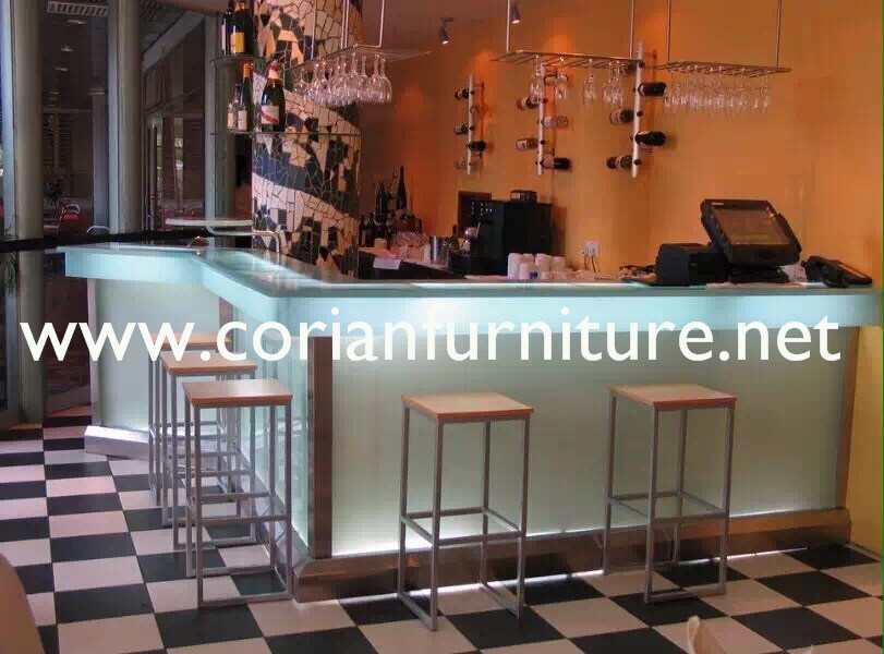 Translucent Avonite Acrylic Solid Surface LED Lighted Bar Counter
