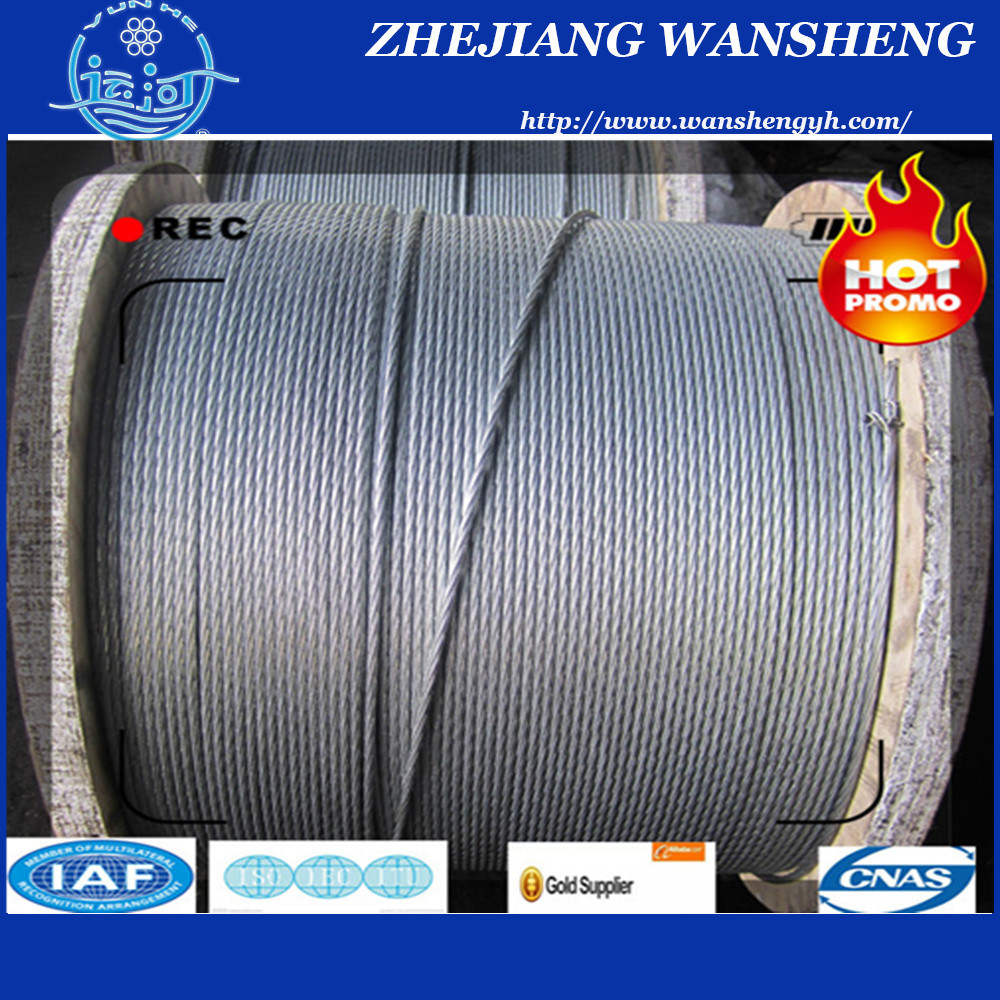 Galvanized Steel Wire Stranded Steel Wire Rope. (A. C. S. R.) 7/1.67mm