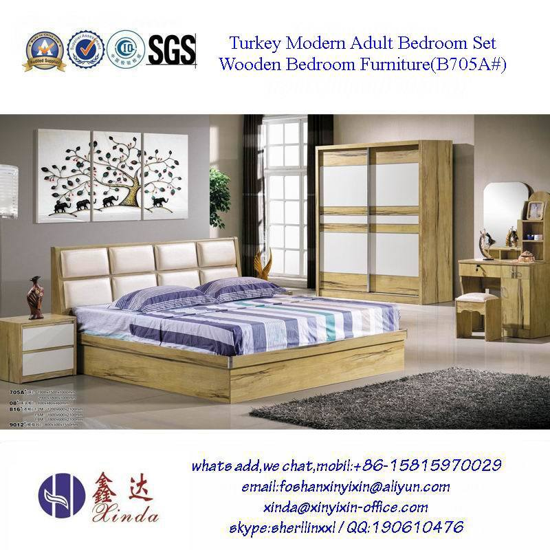 Malaysian Bedroom Sets Furniture Single Bed with Leather (SH-001#)