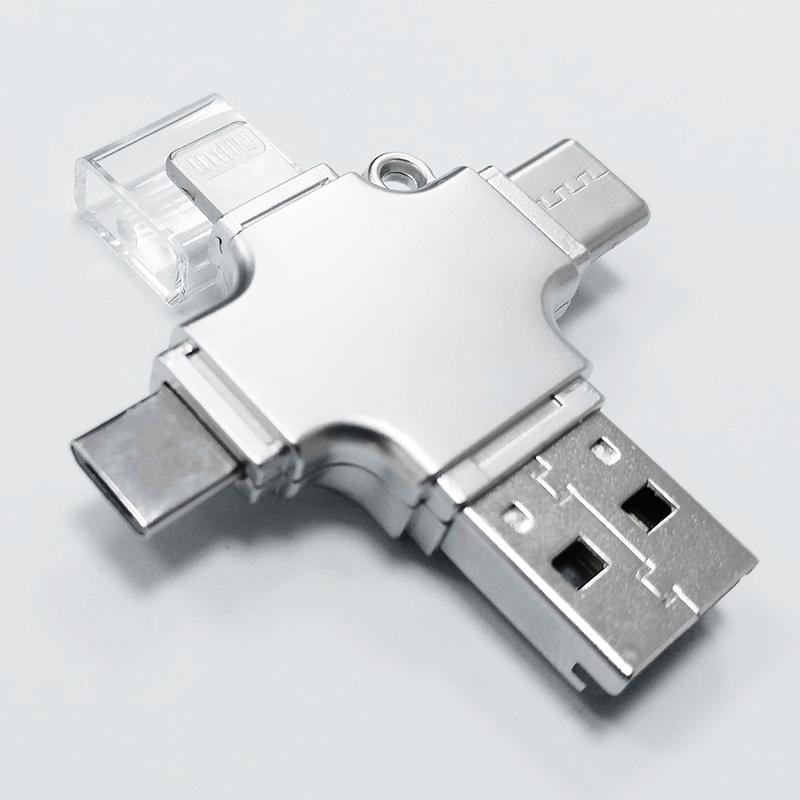4 in 1 Metal OTG Microsd Card Reader for iPhone Lightning + Type-C+Micro USB +USB (YT-R010)