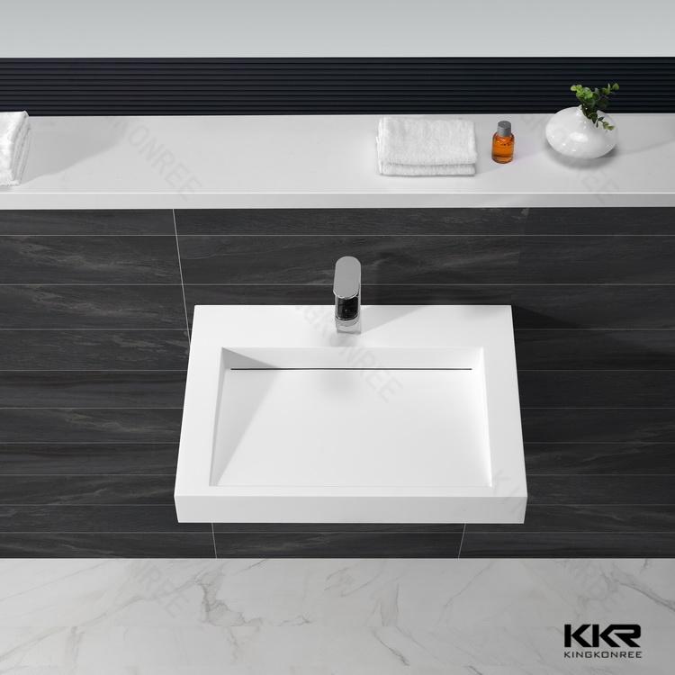 Modern Art Design Solid Surface Wall Hung Wash Basin (B170803)