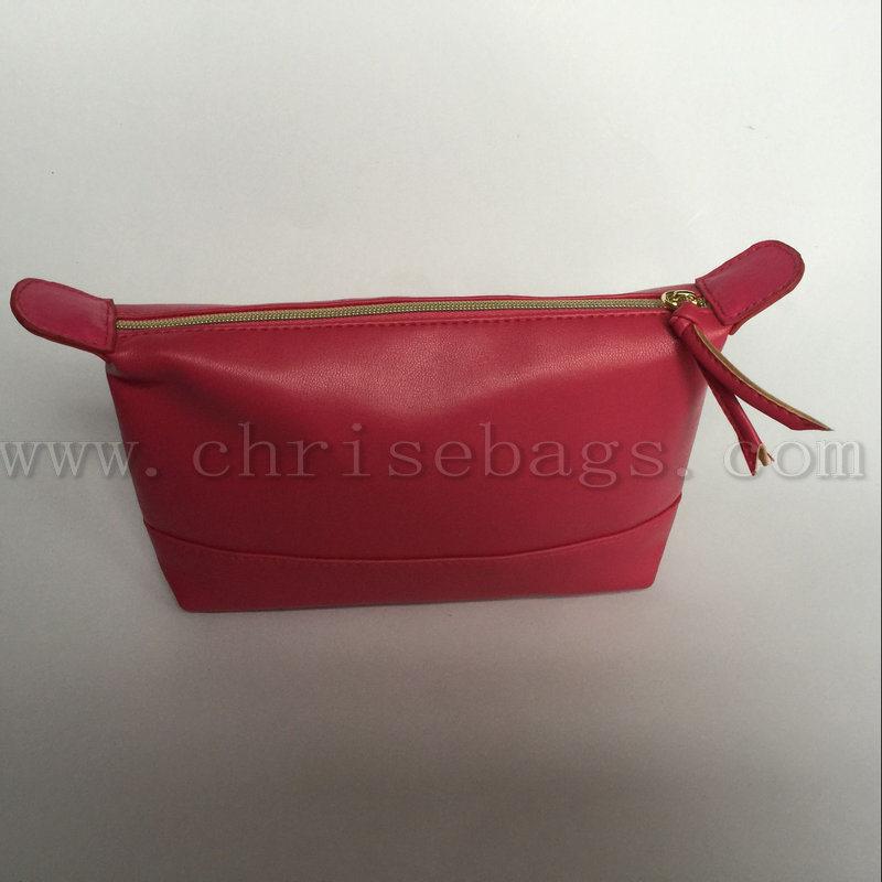 Red PU Women Hand Cosmetic Bag