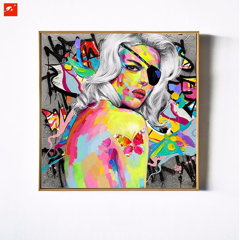Colorful White Hair One-Eye Woman Wall Decor