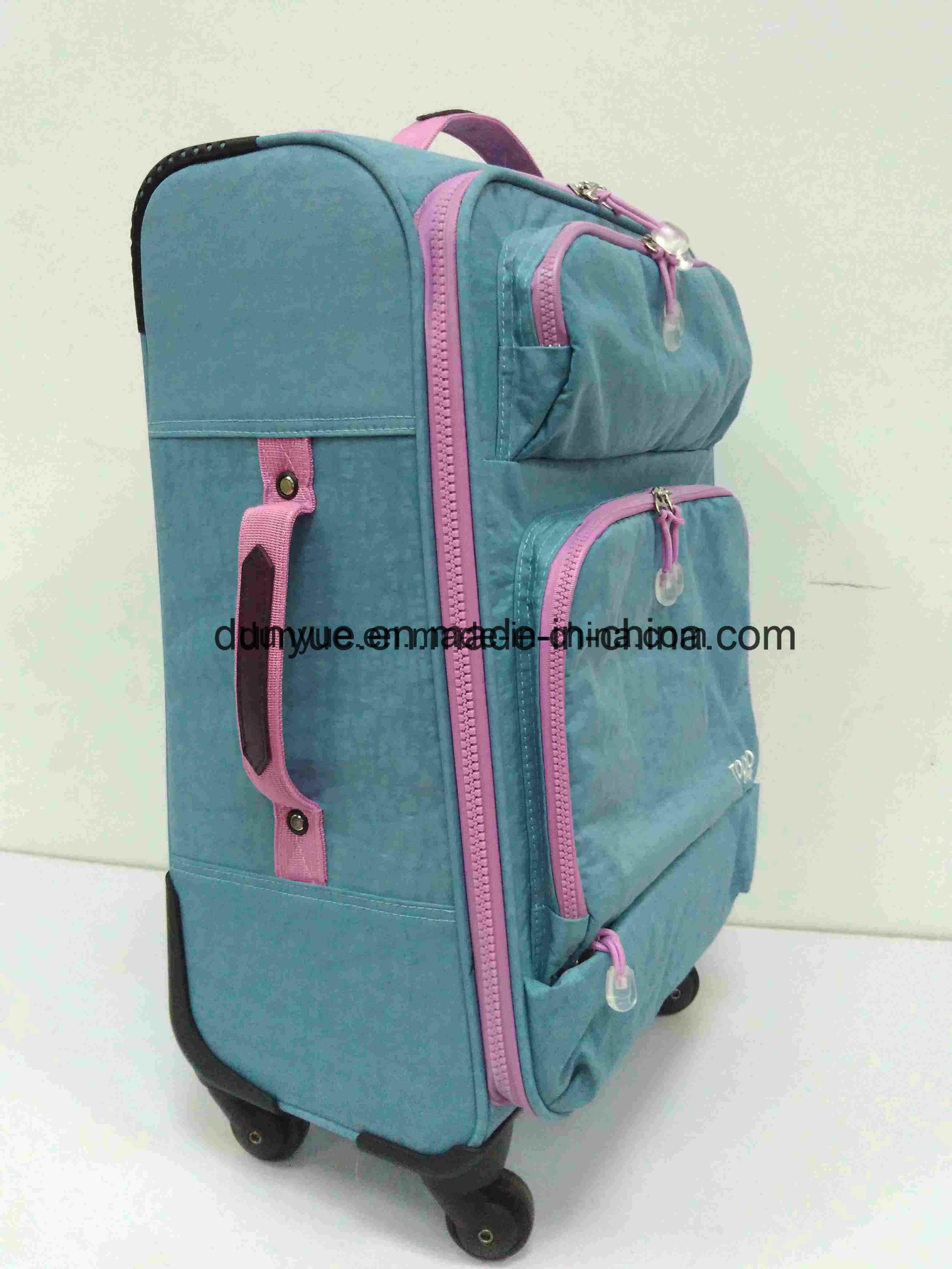 Factory Supplier Durable Washer Wrinkle Fabric Luggage Bag, Custom Low MOQ Travel Suitcase with Wheels
