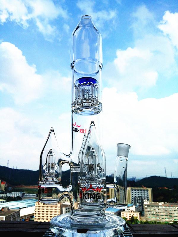 Hb-K55 Arm Tree Percolotor Rocket Shape Glass Smoking Water Pipe
