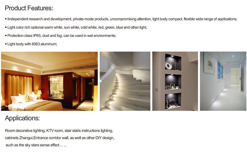 IP65 1W DC 12V LED Bulb Downlight for Cabinet Stair Light