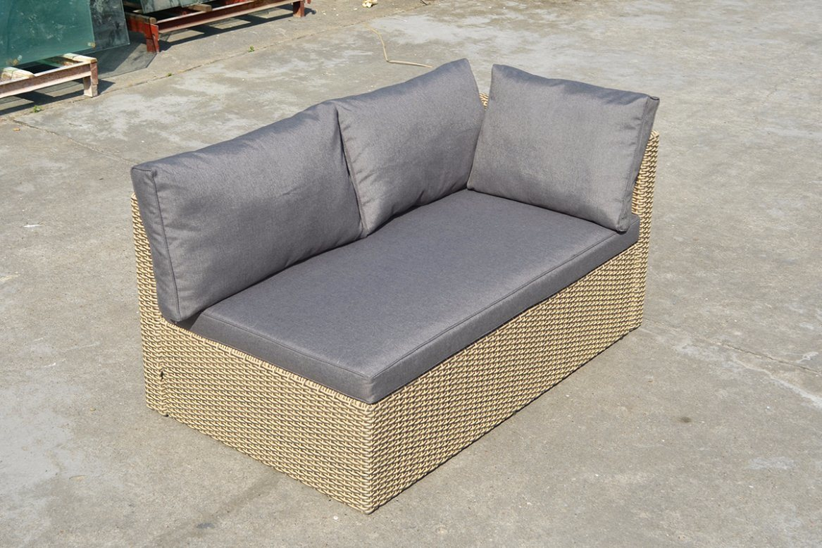 Patio Outdoor Garden Furniture Double Half Round Wicker Rattan Sofa (J713KD)