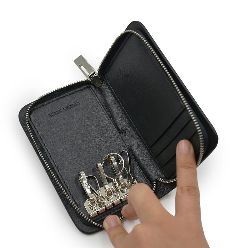 Custom Smooth Leather Black Key Bag