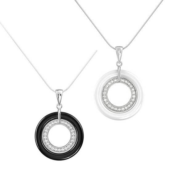 925 Sterling Silver Ceramic Pendant Necklace P20013