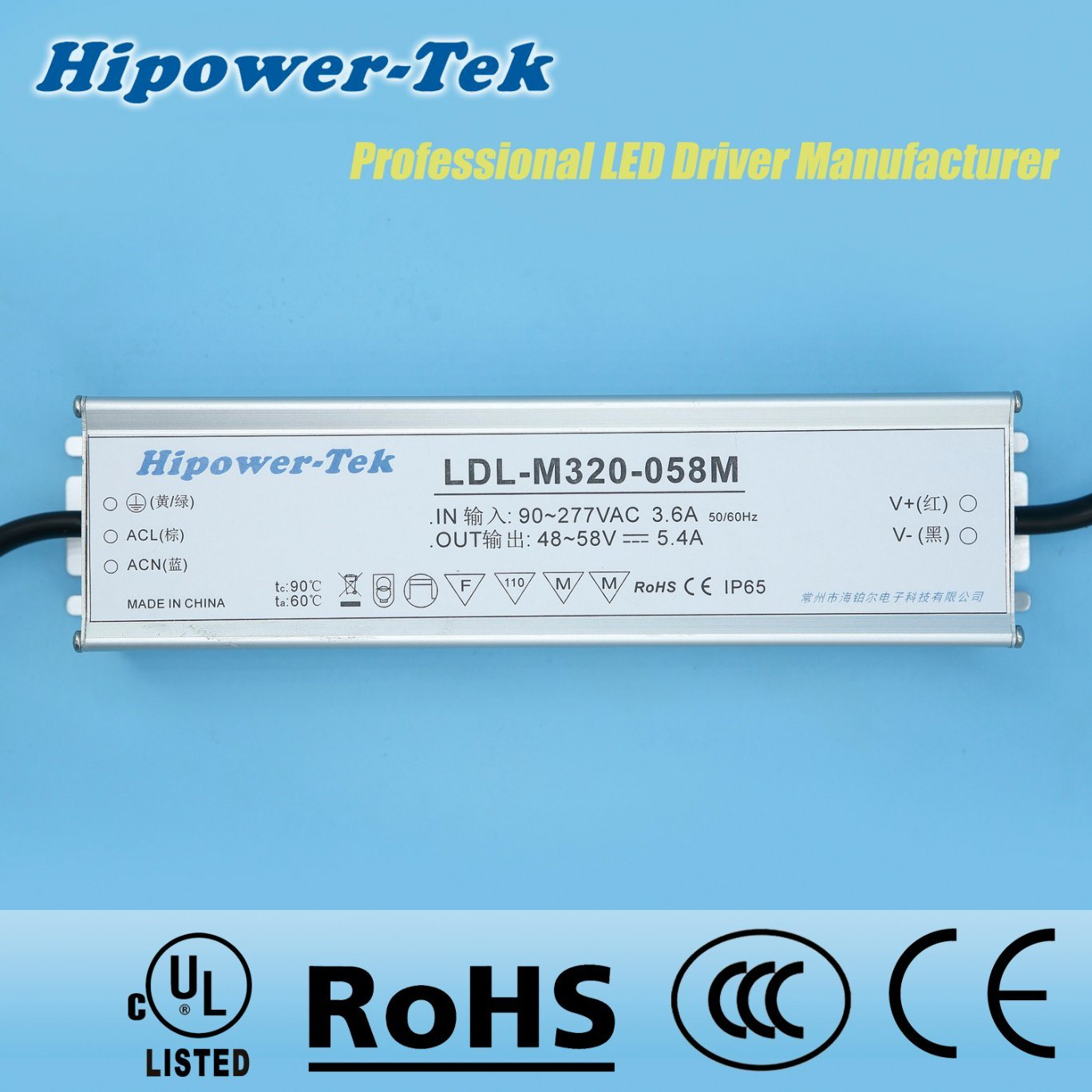 320W Waterproof IP65/67 Outdoor Dimmable Power Supply LED Driver