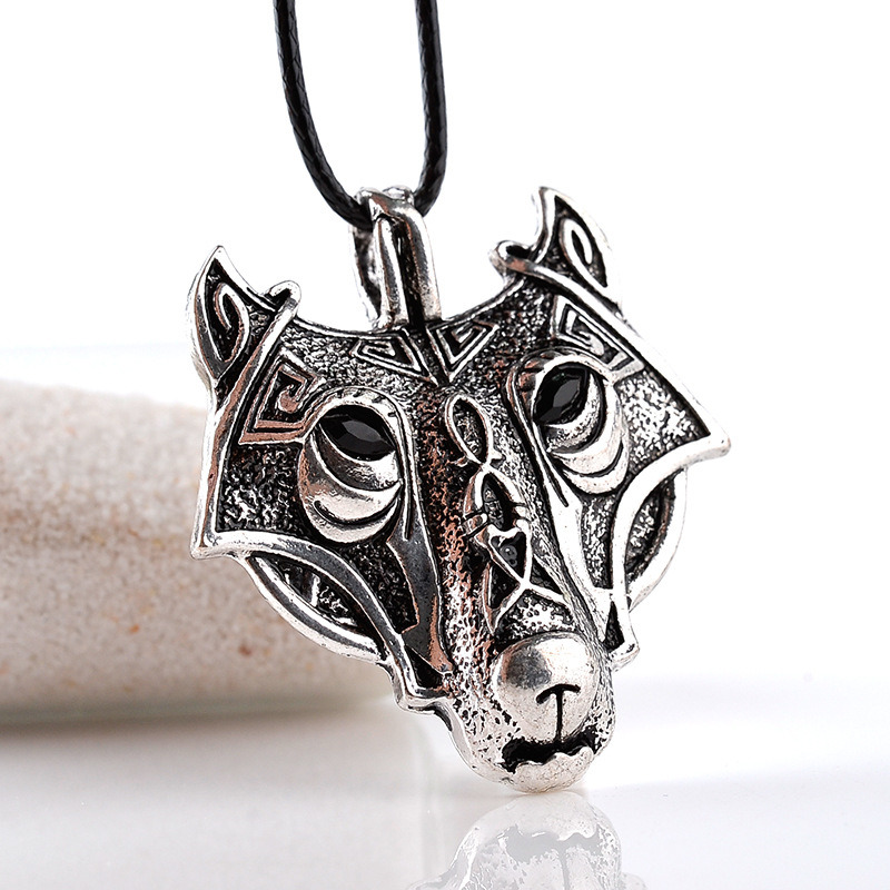 Antique Silver Ornate Wolf Face Pendant Necklace Nordic Viking Norse Head