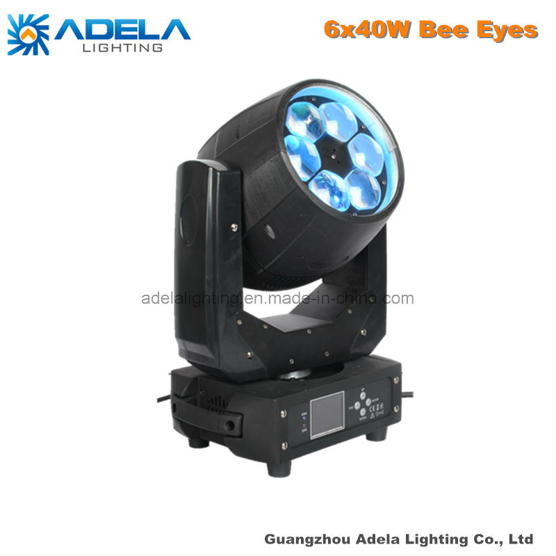 6X40W Bee Eyes LED Moving Head Beam Zoom Wash Stage Disco DJ Light