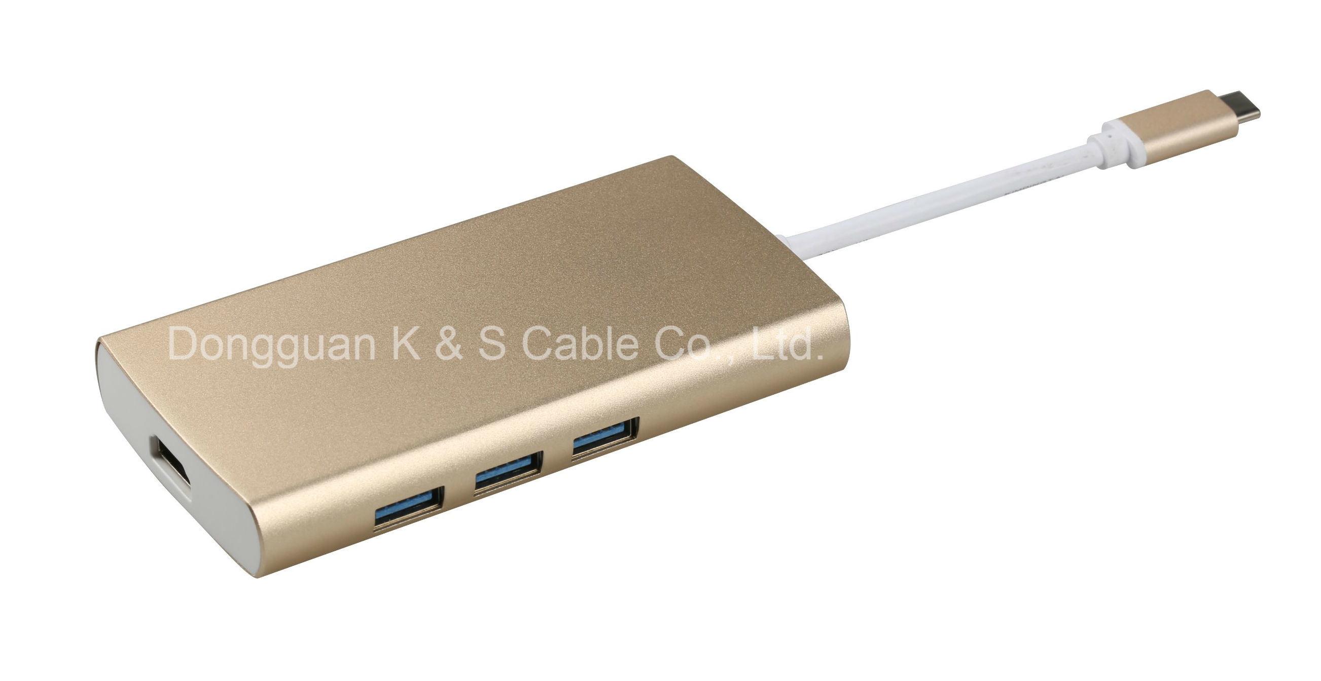 USB3.1 C to HDMI + USB3.0 3 Ports + USB C Adapter