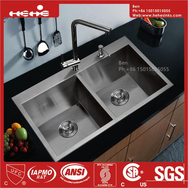 Drop in Handmade Kitchen Sink, Stainless Steel Top Mount Equal Double Bowl Handmade Kitchen Sink