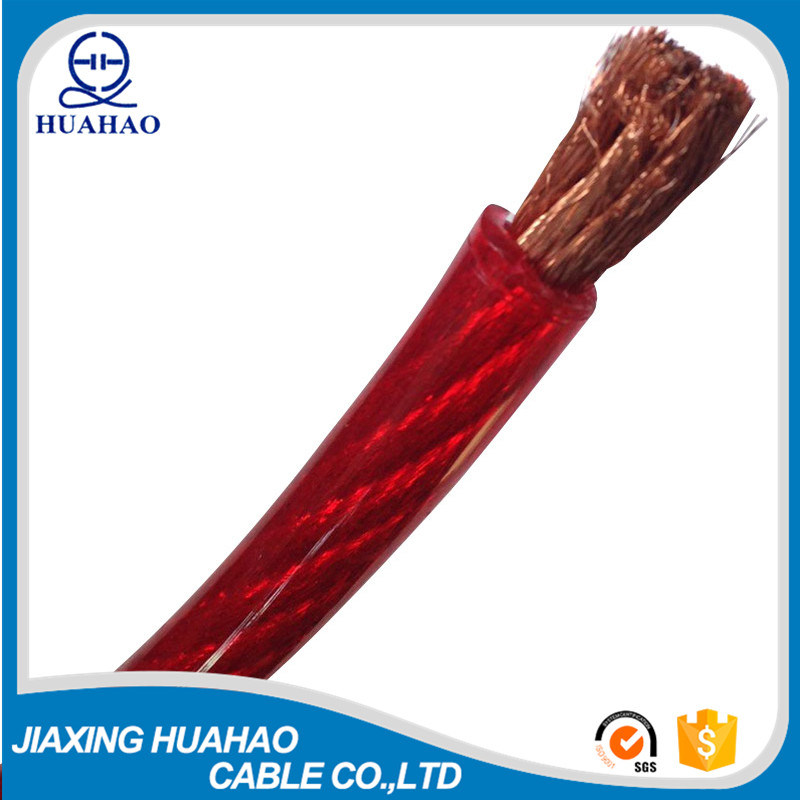Red Transparent PVC Insulated Copper Conductor Car Power Cable