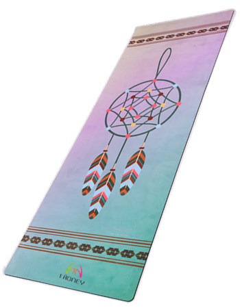 Dreamcatcher Design Print Exercise Bikram Pilates Yoga Mat with Carrying Strap