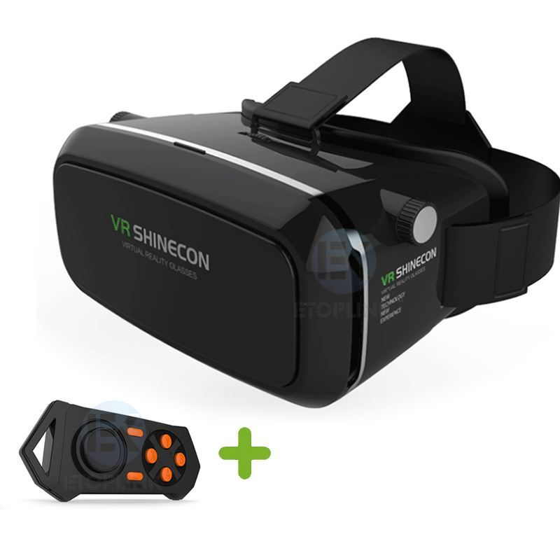 Vr Shinecon 3D Vr Glasses Universal Virtual Reality Free Controller Video Glasses for iPhone Smartphone + New Bluetooth Gamepad