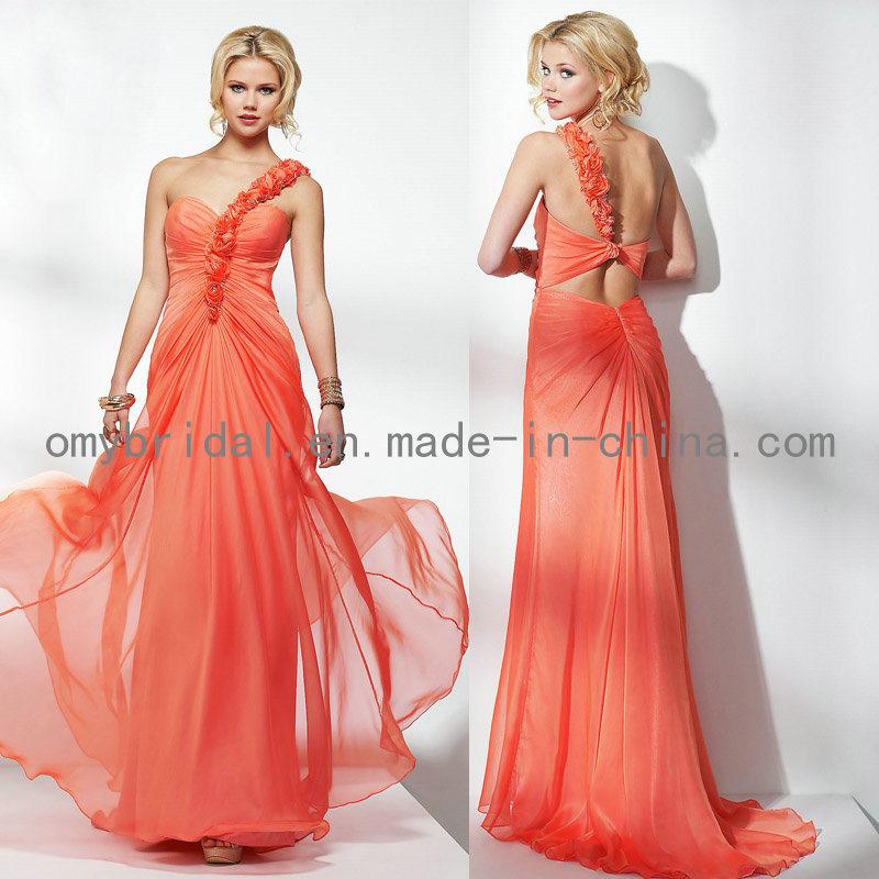 china one shoulder chiffon orange prom dresses 2012 e013