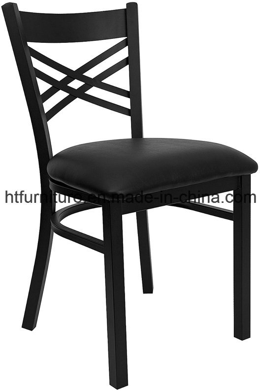 X-Back Metal Restaurant Chair with Vinyl Seat