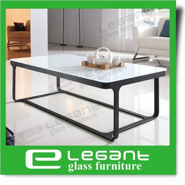 White Painted Tempered Glass Table with Stainless Steel Frame