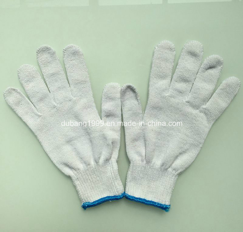 10gauge Bleached Yarn Made Knitted Cotton Gloves Woking Gloves