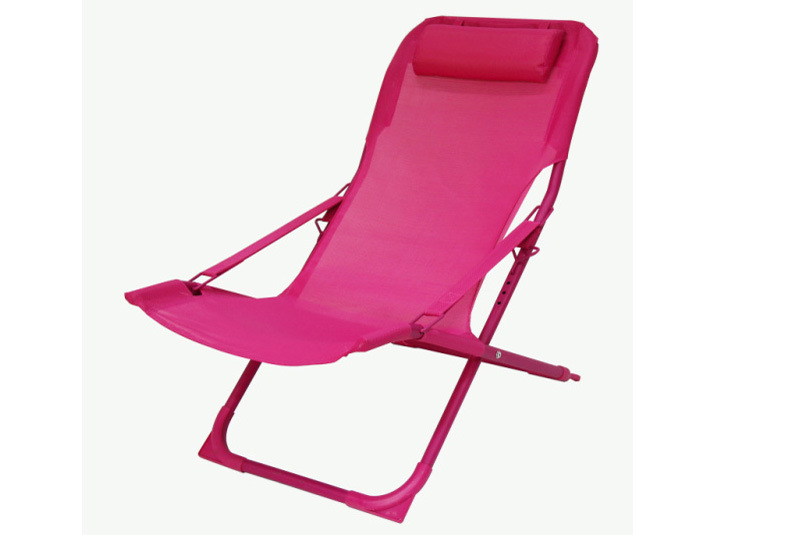 XL Plus Air Comfort Pink Aluminum Frame Sling Premium Outdoor Folding Beach Lounge Chairs