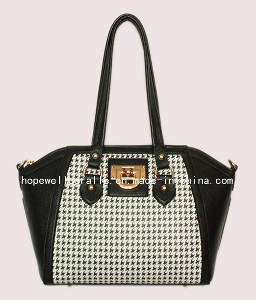 Hounds Tooth PU Print Lady Handbag, Fashion Bag, Fashion Handbag, Lady Bag, Casual Bag (B3630)