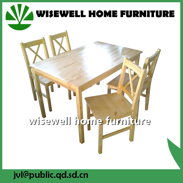 Solid Pine Wood Dining Room Table Set
