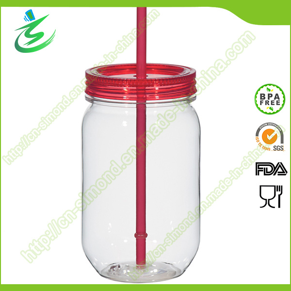 20 Oz Mason Jar with Plastic Straw and Cover (MJ-F1)