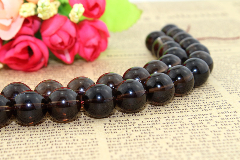 Wholesale Natural Crystal with Smooth Face Size 4 6 8 10 12 14 16mm Round Smoky Quartz Loose Crystal Beads