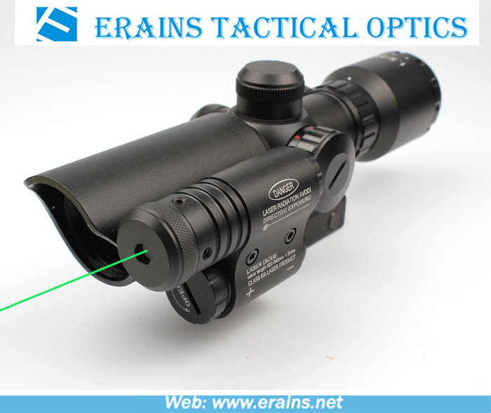 Compact 1.5-5X32 Rifle Scope Red Green Mil-DOT Reticle with Attached Green Laser Sight