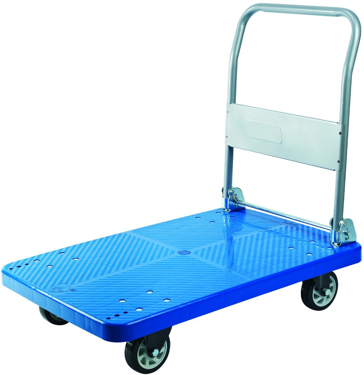 300kgs Blue Platform Trolley Pallet Hand Truck with PVC Wheels
