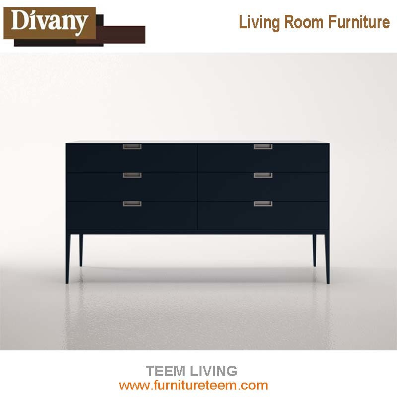 Modern Simple TV Stand, Walnut Wood Veneer TV Cabinet