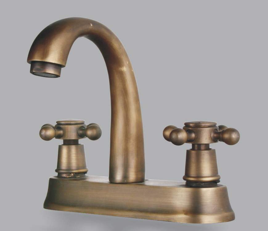 Two handles antique brass centerset bathroom sink faucet f 5015 china antique sink faucet Antique brass faucet bathroom