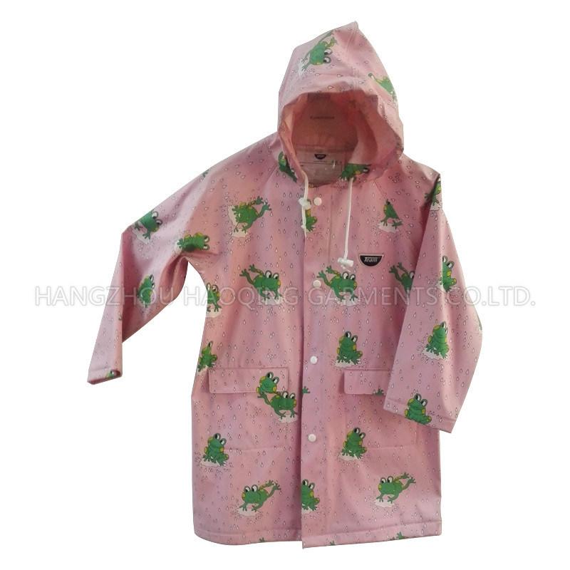 Pink Frog Hooded PU Raincoat