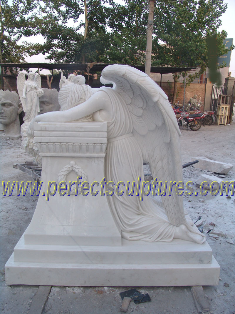 Marble Granite Kneeling Angel Statue for Tombstone Headstone Monument (SY-X1127)