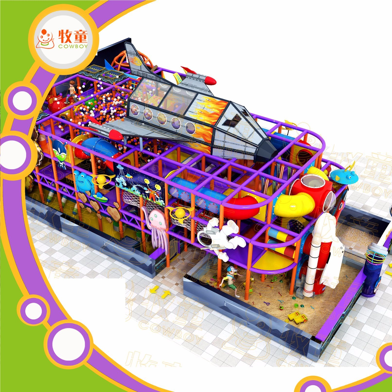 Kids Indoor Playground Equipment/ Fiberglass Slide and Rainbow Net