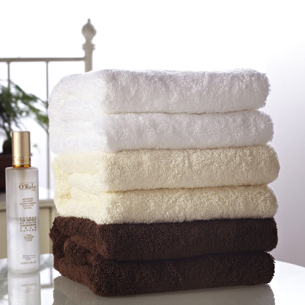 100% Cotton Terry Solid Color Bath Towel with Dobby Border