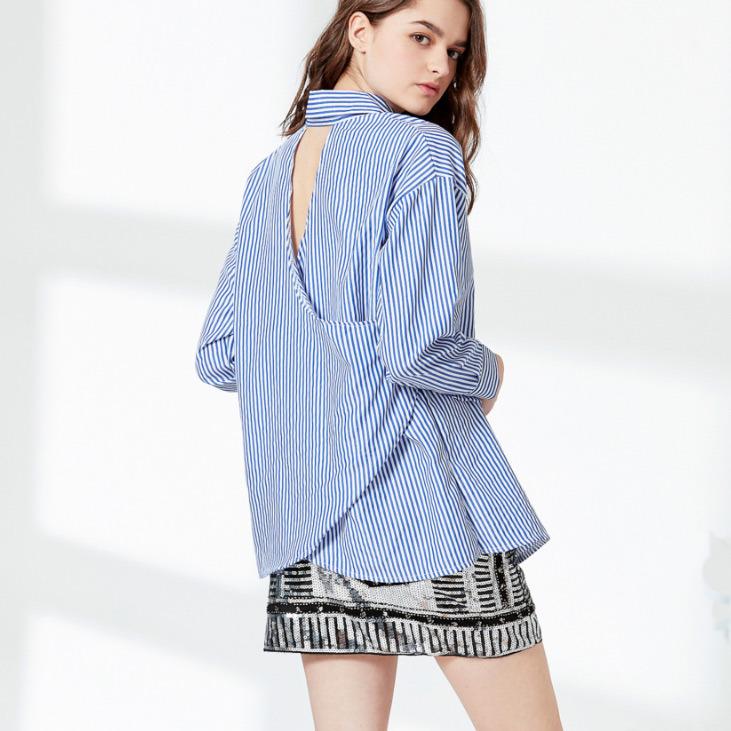 Fashion Women Leisure Slim Hollow Back Stripe Embroidery T-Shirt Blouse