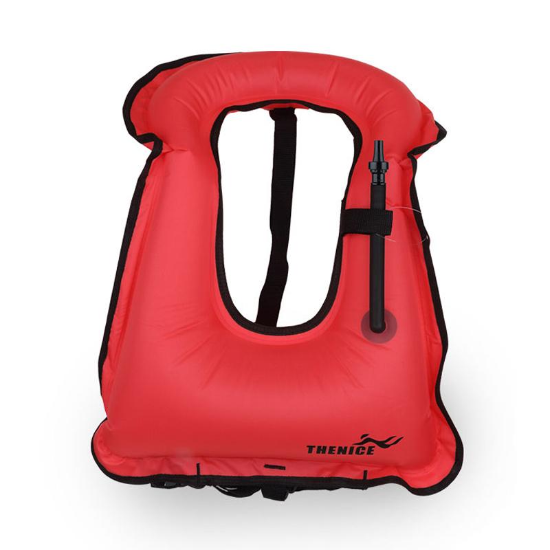 Adult Portable Canvas Life Jacket Snorkel Vest Inflatable