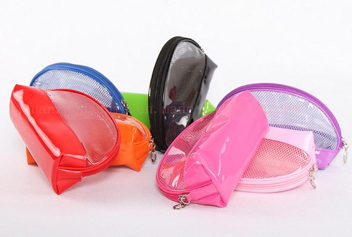 OEM PVC Varnish Leather Net Makeup Bag Cosmetic Bag