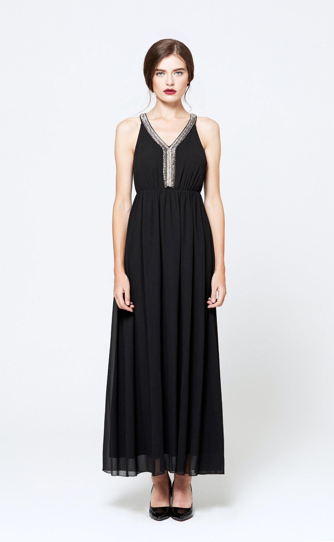 OEM ODM Best Selling Casual Sleeveless Chiffon Black Sexy Dress