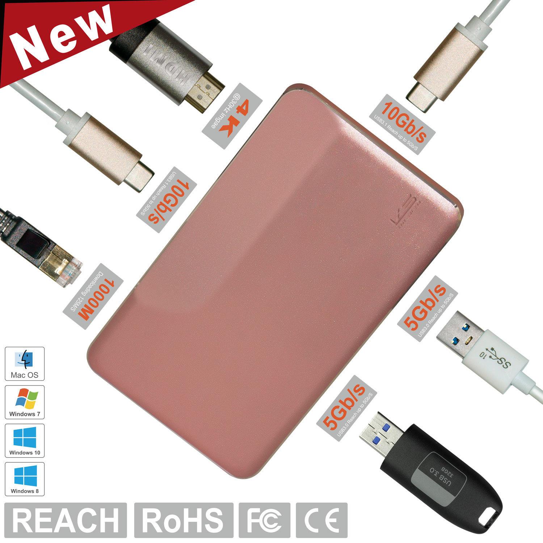 K&S Aluminum USB-C PRO Hub Adapter for MacBook, USB 3.1 Gen1 10GB, 4k HDMI, Pass-Through Charging, Gigabit Ethernet Switch and 2 USB 3.0 Ports