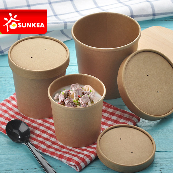 Disposable Short Stout Paper Soup Cup with Paper Lid