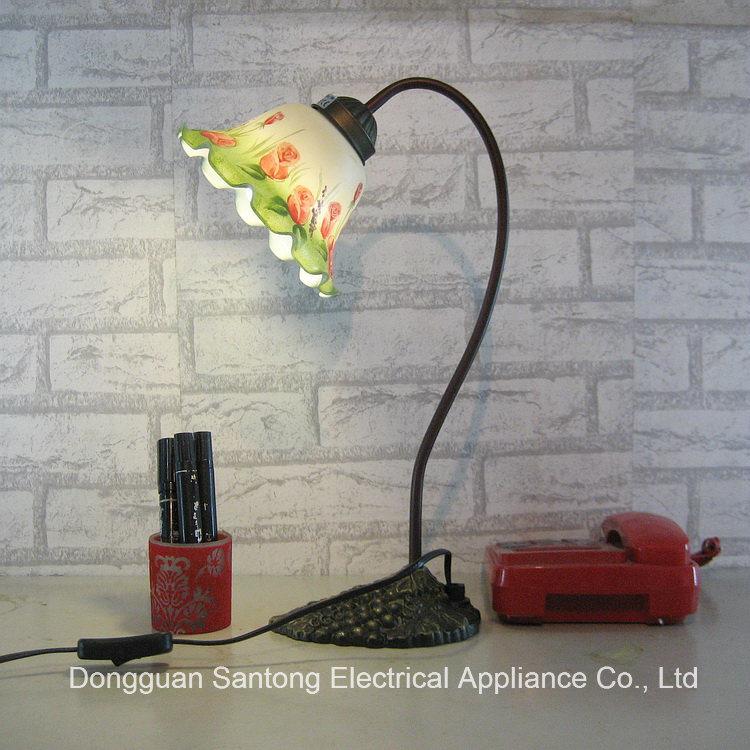 Modern Rose Flower UL Brown Tiffany Table Lamp