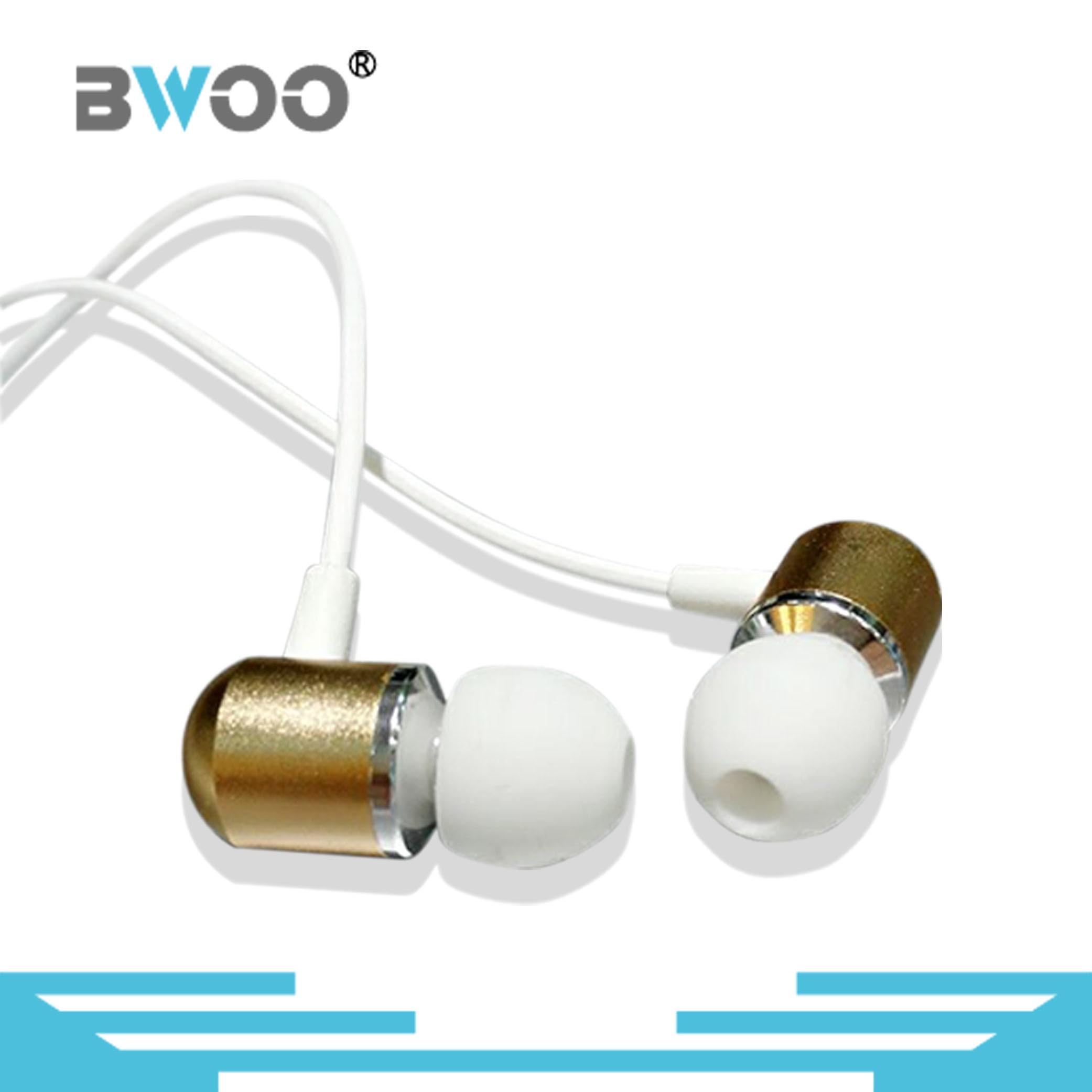Customized Logo Golden Metal Stereo in-Ear Earphone for Mobile Phone