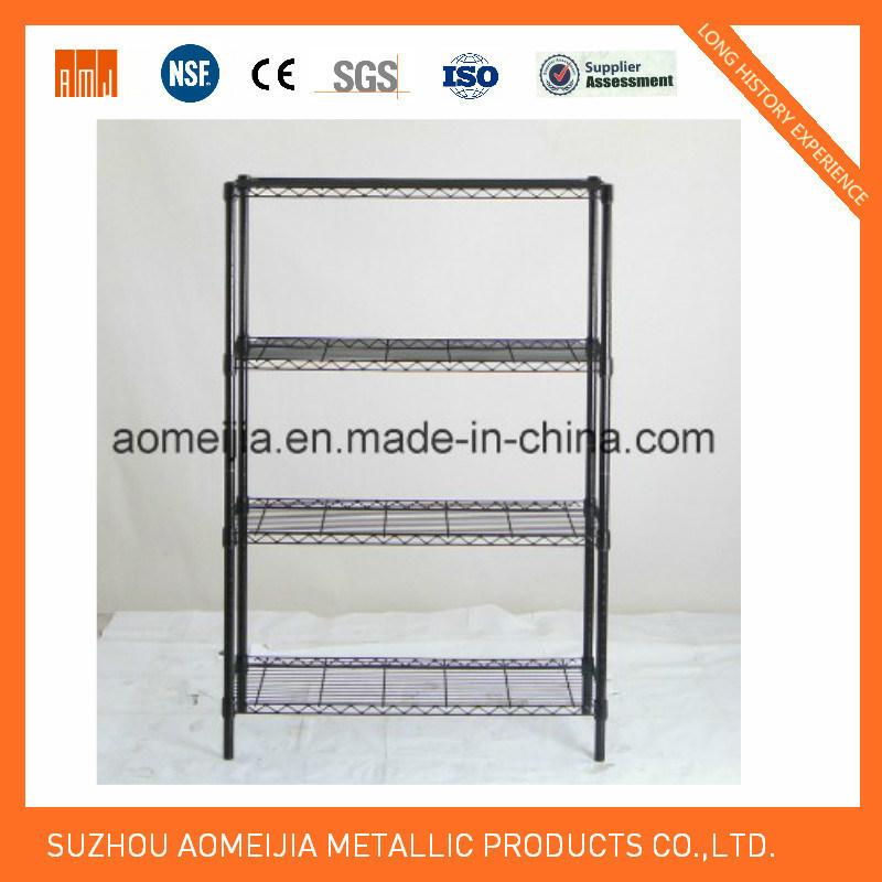 4 Tier Black Wire Rack Metal Storage Display Wire Shelf