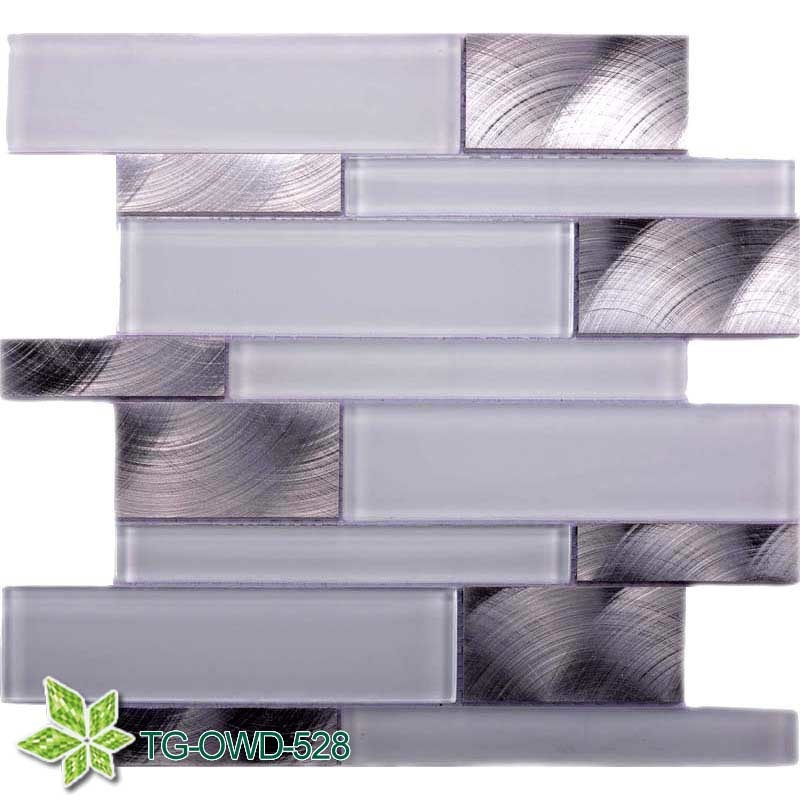 Super White Glass Mosaic Mixing Aluminium (TG-OWD-528)