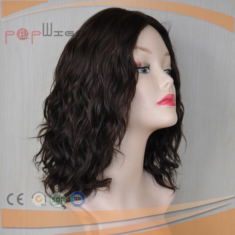 European Human Hair Natural Wave Virgin Color Silk Top Wig